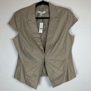 New York & Company gold linen cap sleeve jacket
